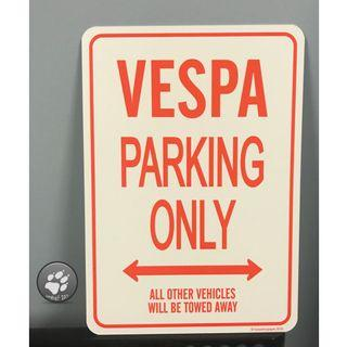🚚 VESPA  Parking only 趣味 標語牌 停車牌 標誌 復古 收藏