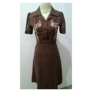 Vintage Dress / Dress Cantik/ Dress Lucu / Dress Coklat