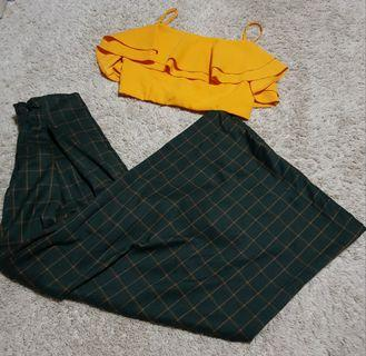 Tallulah set ||   The tinsel rack dolce ruffles bralet citrus marigold yellow ruffled zip up bralette and forest green and yellow checkered/grid/plaid wide legged elastic waist Palazzo Pants korean ulzzang