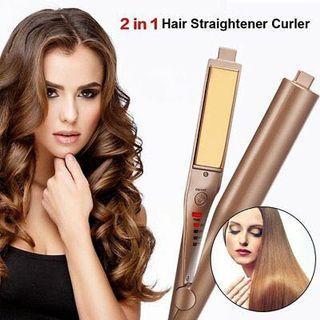 Hair straightener + Hair Curler in 1