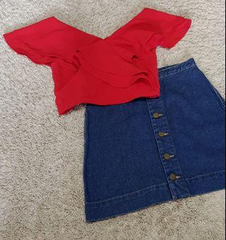 Jenny set || The closetlover brand fenn ruffled top in red and denim Button Down Skirt american apparel inspired