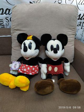 Mickey Mouse & Minnie Mouse 毛公仔一對