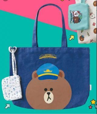 LINE FRIENDS BROWN TOTES BAG 100%NEW