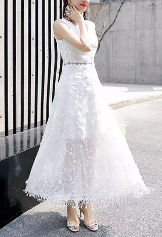 White Flora Chiffon Long Princess Dress