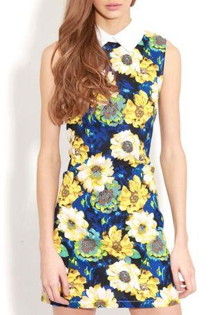 Navy Blue White Collar Flora Sleeveless Mini Dress
