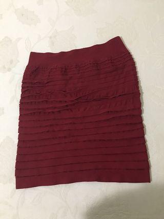 Red wine ruffle skirt