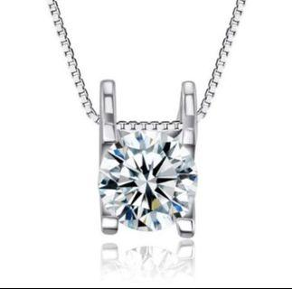 [ Mother's Day Special ] S925 Silver Sparkling Cubic Zirconia Square Pendant Necklace - New