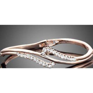 18K Rose Gold Plated Austrian Crystal Bangle Bracelet - NEW
