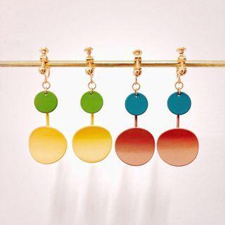 韓國設計跳色耳環