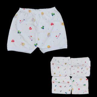 魚嘜: 3件 嬰幼兒 印花 短褲 白色 幼童 嬰兒 小童 女童 男童 underwear shorts tak shun