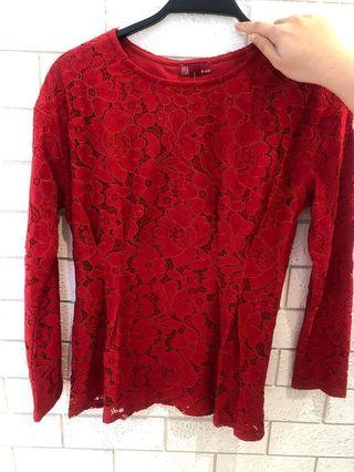 RED LACE TOP NEW