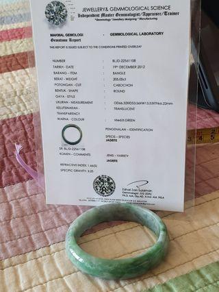 Jadeite jade bangle 57 mm