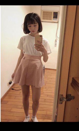 粉色高腰a字裙