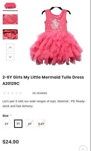 Brand New Authentic Disney Princess Ariel Tutu Dress