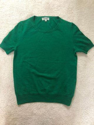 Green pure wool cardigan set
