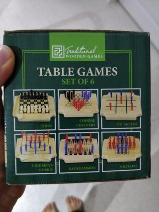 6 Games -Chess, Chinese Checkers, tic tac toe, nine men's Morris, backgammon, solitaire