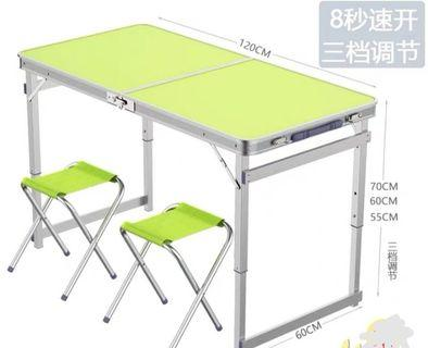 Picnic / BBQ table with 2 canvas chairs