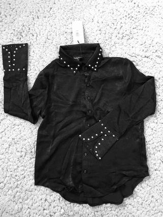 Studded Satin Shirt by Something Borrowed