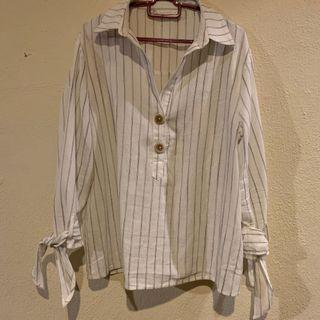 White Stripes Top with bow sleeves