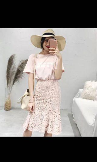 Tshirt + Lace skirt set