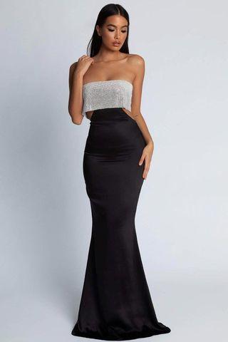 MESHKI- Strapless Diamanté Maxi Dress XS (negotiable)