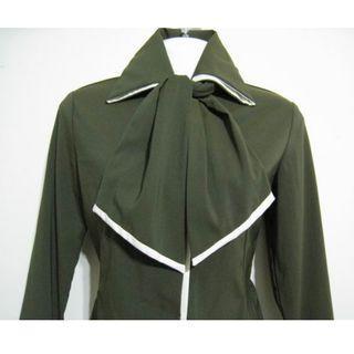 優雅OL撞色滾邊長袖襯衫~適合微涼季/領巾可拆