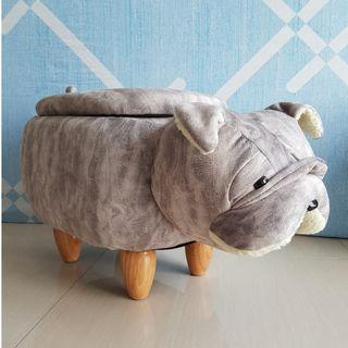 Cute Bull Dog Animal Children Stool with Storage