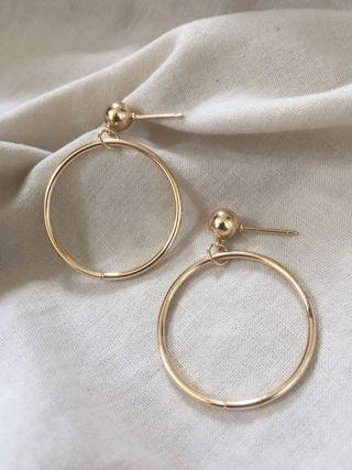 Anting Bulat Hoop Earrings Gold