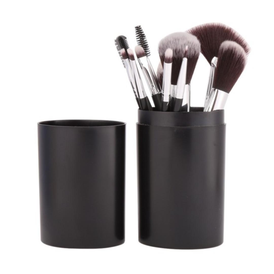b009335d050b Makeup Brush 12Pcs/Sets Tool Eye Shadow Foundation Eyebrow Lip Brush  cosmetics Leather Cup Holder Case Kit(Black & PINK)