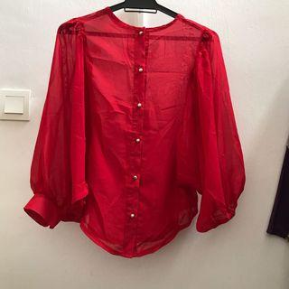 Bell Sleeve Batwing Red Top