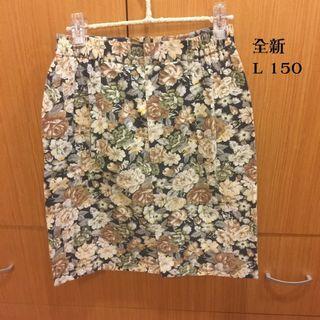 Hera clothes>全新 大尺碼 古著 復古 窄裙 中長裙 帆布 花裙 L