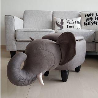 Plush Elephant Animal Stool with Storage