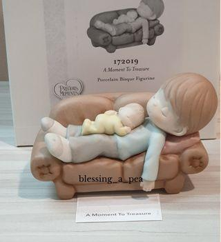 Precious Moments - A Moment To Treasure Bisque Porcelain Figurine Sleeping Father with Baby
