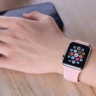 [READY STOCK] Pink Silicone rubber casual sports apple watch straps band for iwatch series 1/2/3/4, size 38mm/40mm/42mm/44mm