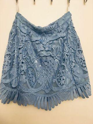 Lovers & Friends Revolve Blue Lace Mini Skirt