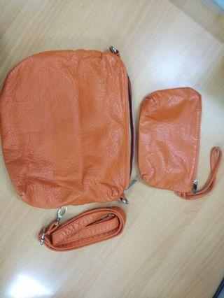 Orange Sling Bag and Wallet