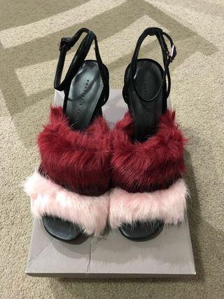 Charles & Keith Burgun Furry Open-Toe Sandals