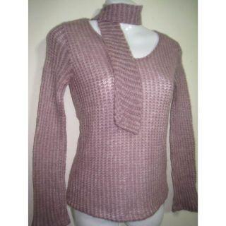 淺紫薄毛料長袖上衣+領巾~適合微涼季