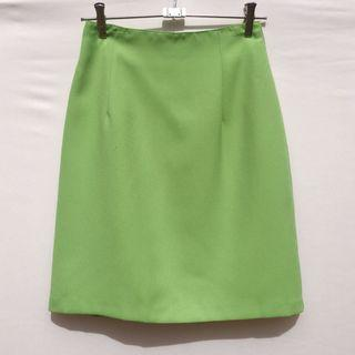 Vintage 90s lime green office mini skirt S 8