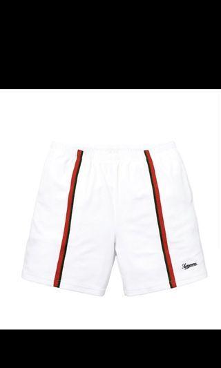 Supreme velour warm up shorts