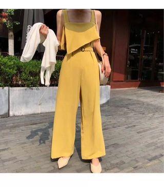 全新現貨黃色顯瘦腰帶吊帶連身褲可拆式