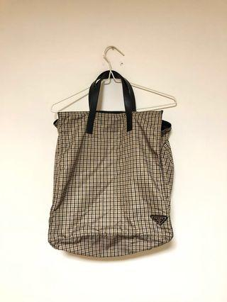 Prada brown checked tote bag leather handle 95%new