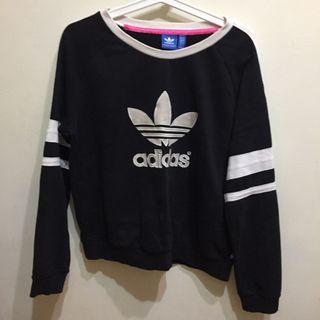 Adidas Originals 愛迪達 三葉草 黑色圓領大學T 長袖 經典LOGO black