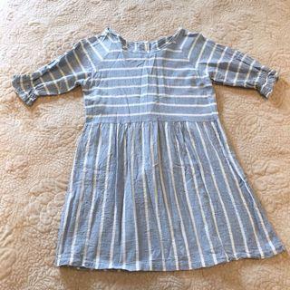 🚚 春夏可愛藍白線條棉麻小高腰圓領公主袖小洋裝短裙