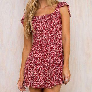 red floral mini summer dress