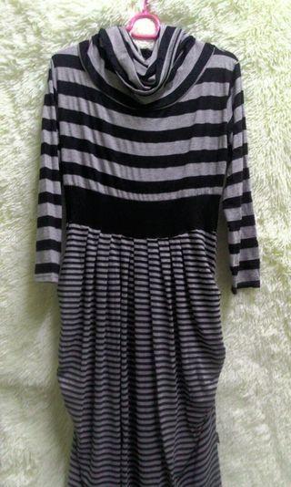 Pre❤ Stripe Dress / Turtleneck blouse labuh