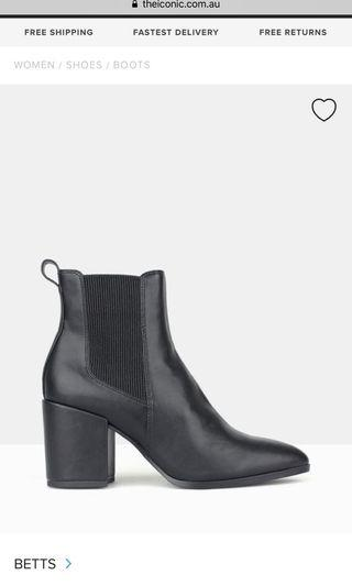 Betts coyote black heeled ankle boot 7