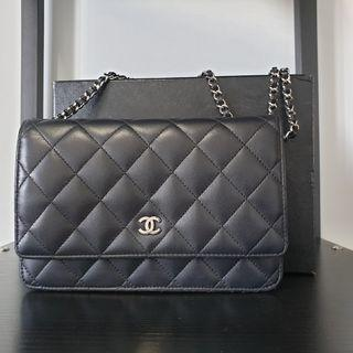 ee4dab400dd1 Authentic Chanel Classic Quilted WOC Black Lambskin SHW