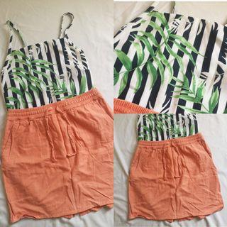 F21 Skirt and Tropical Crop top