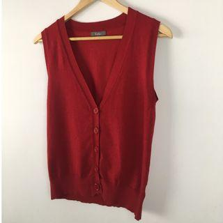 Katie's Red 5-Button Knit Sweater Vest